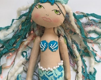 SALE - Handmade doll, Mermaid Doll, Cloth art doll, Haute couture doll, fiber art doll, fabric doll, designer doll, poppet, fashion doll