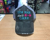 Gym Hair Don't Care Monogrammed Embroidered Distressed Trucker Cap Dark Gray