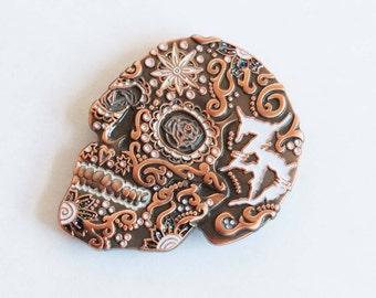 Zeds Dead Sugar Skull 3D Hat Pin (Black/Copper/Chrome)