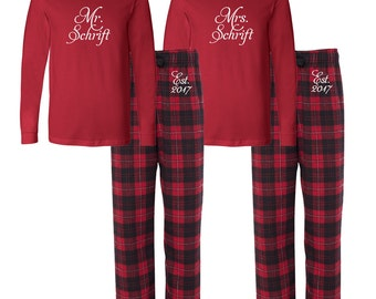Mr and mrs pajamas   Etsy