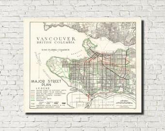 Vancouver Map, Vancouver Art, Vintage 1946 City Street Plan, City Street Map, Den Wall Art Print British Columbia Canada