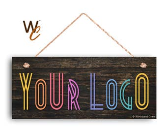 "Company Sign, Place Your Logo on Sign, Personalized 6""x14"" Sign, Promote Business or Boutique, Rustic Dark Wood Style, Made To Order"