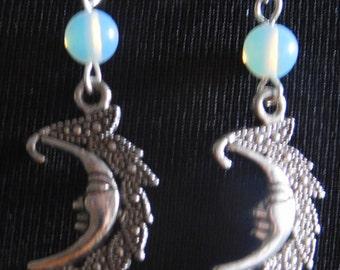 Moonstone Wicca Celestial Moon Earrings
