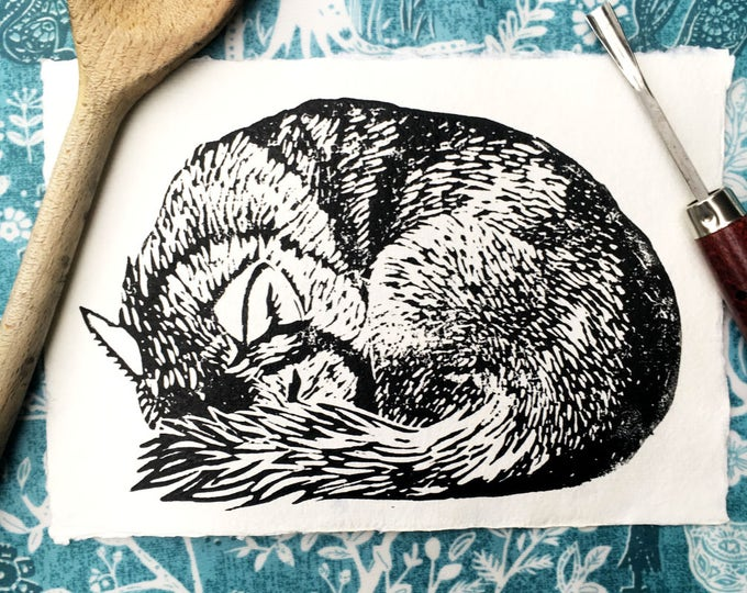Husky Wolf Sleeping Original Illustration Linocut A5 8x5 Print