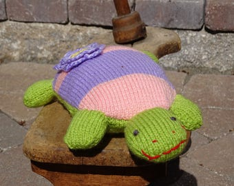 Knitted Turtle, Plush Turtle, Stuffed Animal, Turtle, Stuffed Turtle, Small Pillow, Striped Toy, All Handmade, Ready to Ship, Toddler's Toy