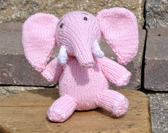 Pink Elephant, Stuffed Animal Toy, Knitted Elephant, Baby Toy, Safari Elephant, Stuffed Elephant, Baby Shower Gift, Small Toy, Safari