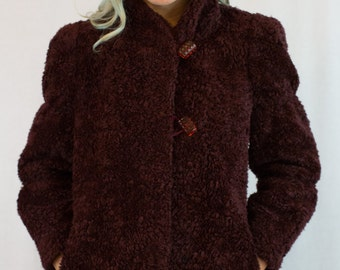 Vintage 60s Burgundy Faux Shearling Coat