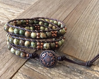 CatMar Beaded Unakite Wrist Wrap Bracelet with Brown Leather Cord and Button and Loop Closure