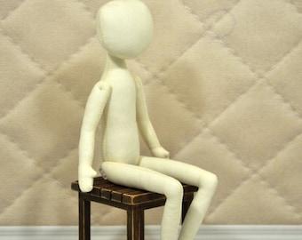 """Blank doll body-11"""",blank rag doll, ragdoll body,the body of the doll made of cloth"""