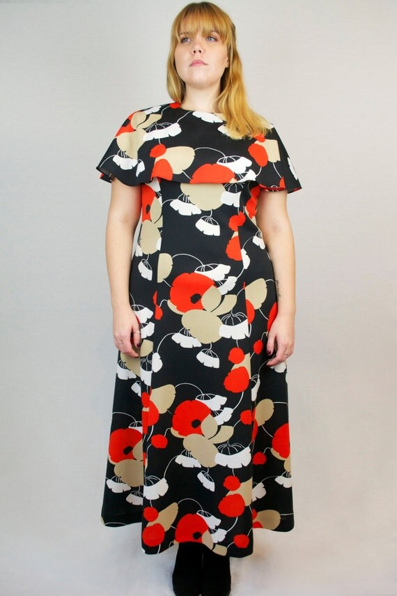 Vintage 60s Maxi Floral Capelet Sheath Dress Sleeveless with Graphic Retro Flower Print + FREE GIFT with PURCHASE