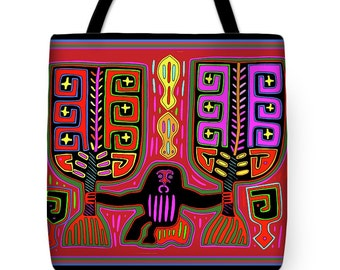 Kuna Indian Man with Fans Mola PolyPoplin Tote Bag Gift - Re-Usable Grocery Bag - Laptop - Diaper Bag - Airline Travel Bag - Book Bag