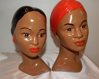 Vintage 60s Hawaiian Polynesian Tiki Indian Ceramic Holland Mold Head Busts Pair