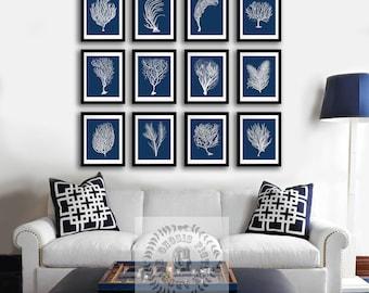 Navy Wall Decor coastal wall decor navy blue wall art set of 4 beach decor