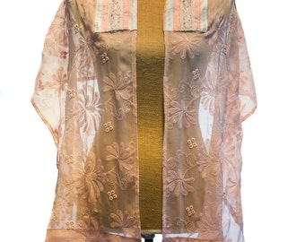 Pink Silk  Embroidered Women's Talit