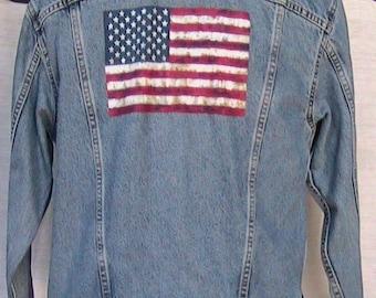 Small Levi Strauss American Flag Denim Jacket