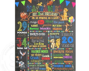 "Simba Printable Stats Sign-Lion King Personalized Stats Poster 16""x20"" Printable Simba Birthday Statistics Sign - DIY Digital File"