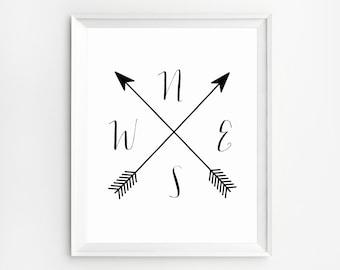 Compass wall art, Compass Print, Black and white, Cardinal Directions Art, Compass Arrow Printable, Arrow Compass, NWES Print, Arrow artwork