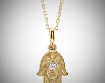 14K Yellow Gold .03 CTW Diamond Hamsa Hand Necklace Design 18 inches, Hand of Fatima