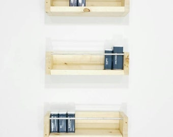 Spice Rack Wall - Hanging Spice Rack - Rustic Spice Rack - Kitchen Shelving - Kitchen Shelves - Pantry Shelves - Pantry Storage - Shelving