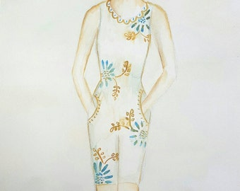 One last swim - art original watercolor vintage bathingsuit beach lake cabin cottage swim bathingsuit teal ochre fall autumn