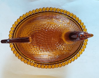 Indiana Glass Amber Chicken Candy Dish