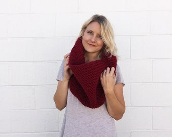 Crocheted / Knit Oversized Chunky Cowl Scarf - Dark Red -  Made to Order
