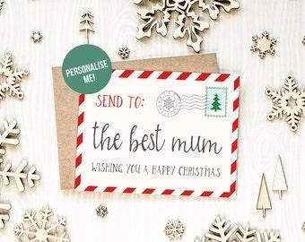 Christmas Card For Mom, Santa Post Card, Best Mum Christmas Card, First Christmas As Mum Card, Personalised Christmas Card For Mom, Postcard