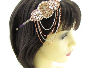 Rose Gold Silver Ivory Pearl Headband Headpiece Vtg 1920s Flapper Diamante 695
