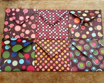 Brown envelopes, retro paper envelopes, set of six square envelopes, unique stationery, decorative envelopes, patterned envelopes