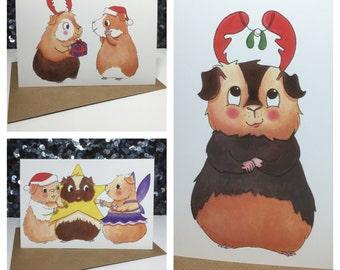 Guinea Pig Christmas cards - 3 designs MULTIBUY DISCOUNT