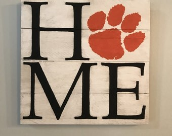 Clemson Paw HOME  // Custom // Gifts for Her // Gifts for Him // Wedding // Pallet // Clemson // College