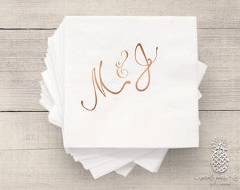 Bride and Groom Wedding Napkins | Personalized Napkin | Monogram Napkins | Bridal Napkins | Custom Foil Napkins | Metallic Foil Napkins