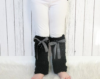 Girls Crochet Bow Leg Warmers, Ribbon Leg Warmers
