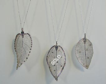 SALE. Real Leaf Necklace 925 silver plated • Silver Leaf Pendant • Electroplated Silver Leaf • Chain 925 Sterling Silver, Solid silver.