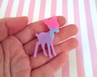 3 Color Glittery Multicolor Kawaii Deer Cabochons, Cute Animal Cabs #476