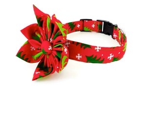 Red and green tree collar, green Xmas dog collar, red christmas tree dog collar, tree cat collar, holiday collar
