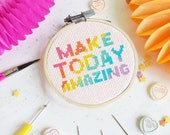 Make Today Amazing Cross Stitch Kit, Cross Stitch, DIY kit, Craft Kit, Stitch Pattern, Craft Supplies, gifts for her, galentines day