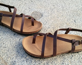Holidays Sale 20%, Free Shipping, VEGAN Sandals, brown Sandals, Summer Shoes, Flat Sandals, Straps Sandals Modelo HECTOR brown