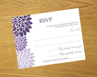 Printable Lavender Chrysanthemum RSVP Card, Instant Download, Editable Colors And Text