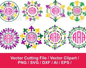 Mardi Gras Fleur De Lis Monogram Frame svg, Mardi Gras Cutting Files, Mardi Gras SVG Monogram Frame , svg, dxf, eps, png, Fleur De Lis svg