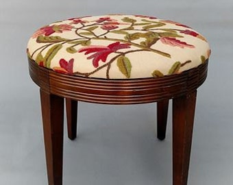 Round Crewel Upholstered Stool