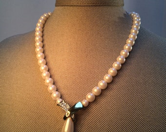 Wedding Necklace,Pearl Rhinestone Pendant Necklace, Pearl Necklace, Vintage Jewelry,
