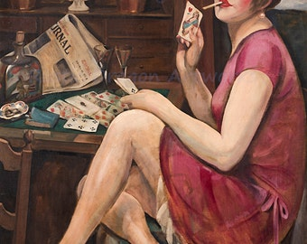 "Gerda Wegener ""Queen of Hearts"" Paris 1928 Reproduction Print Woman Smoking and Playing Cards"