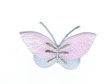 Butterfly - Pink/Gray/Silver - Iron on Applique - Embroidered Patch - 682712-A