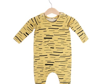 Gold Stripes Organic Cotton Baby Long Sleeve Romper