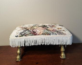 Vintage Tapestry Top Footstool, Needlepoint Stool, With Gold Painted Cast Iron Legs with Makers Mark, Antique Needlepoint Ottoman Tassels
