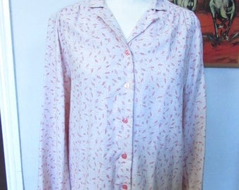 Vintage 1940s-style Faraday London feather/fern leaf motif shirt, size 14