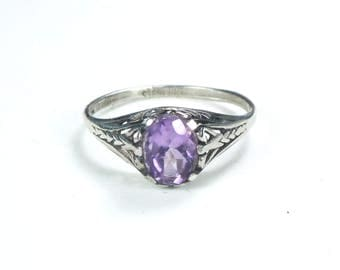 Vintage Sterling Silver Amethyst Ring 1940's Amethyst Filigree Ring Sterling February Birthstone Ring Purple Stone Ring Size 6.5