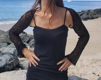 Black knit shrug cardigan, black knit cover up, black evening shrug ,black cardigan,  available with fitted or flowy sleeve, 28 colours.