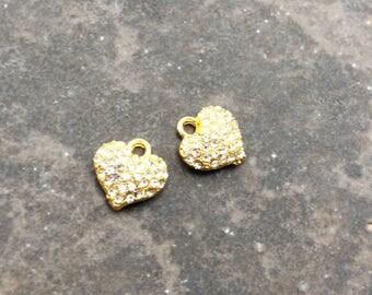 Gold Rhinestone puffed heart charms Pave Rhinestone Heart Charms package of 2 13mm x 13mm Perfect for Adjustable bangle bracelets!